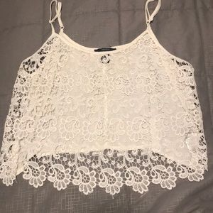 White lace loose crop top